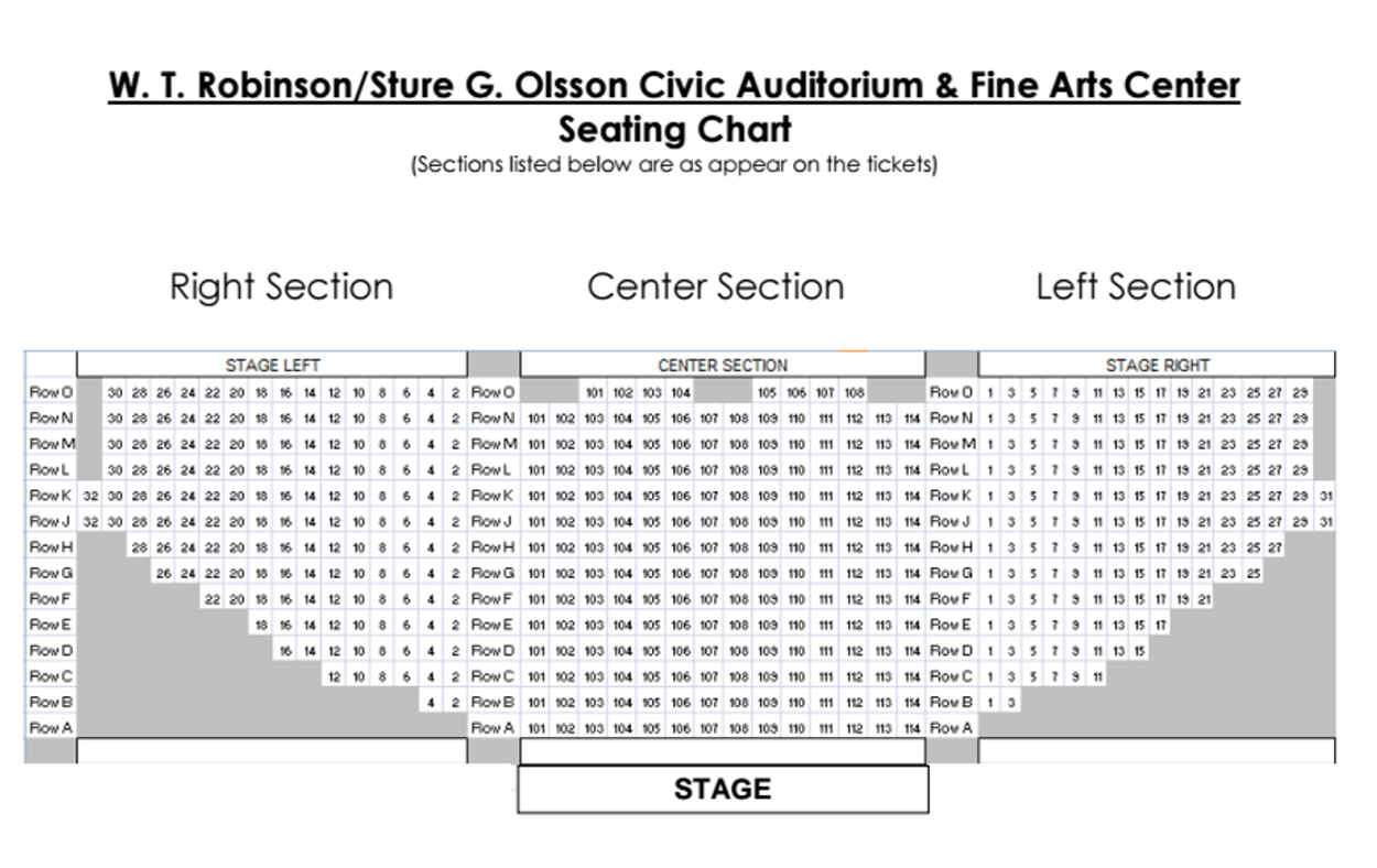 Arts Alive seating chart for events.